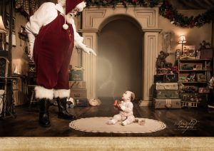 Baby with Magic Santa in Boise Photography Studio