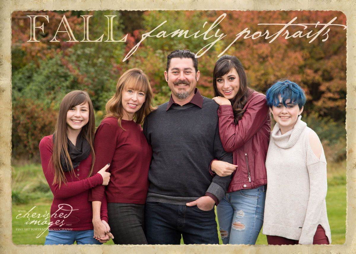 family portrait with fall foliage