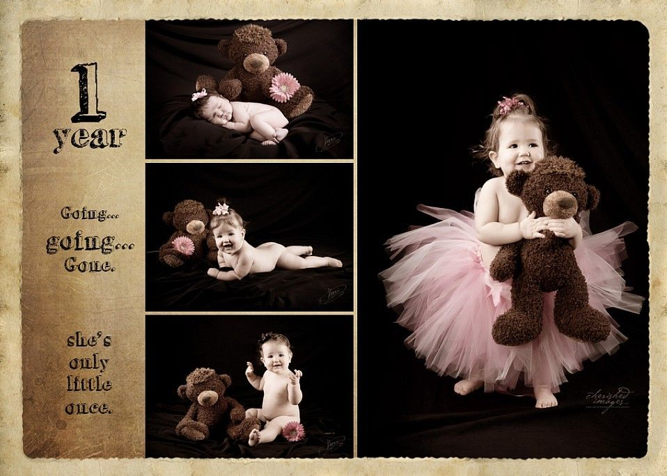 baby first year with teddy bear