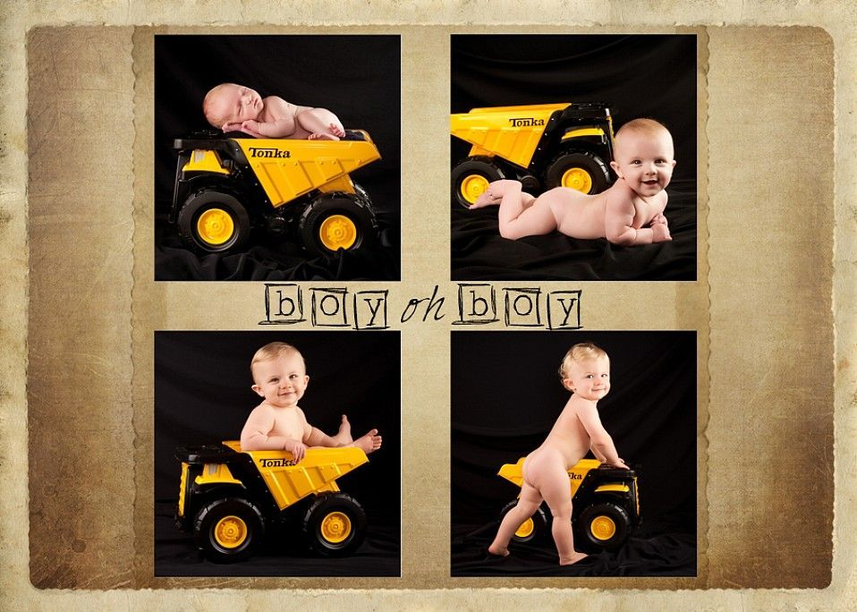 baby first year with toy truck