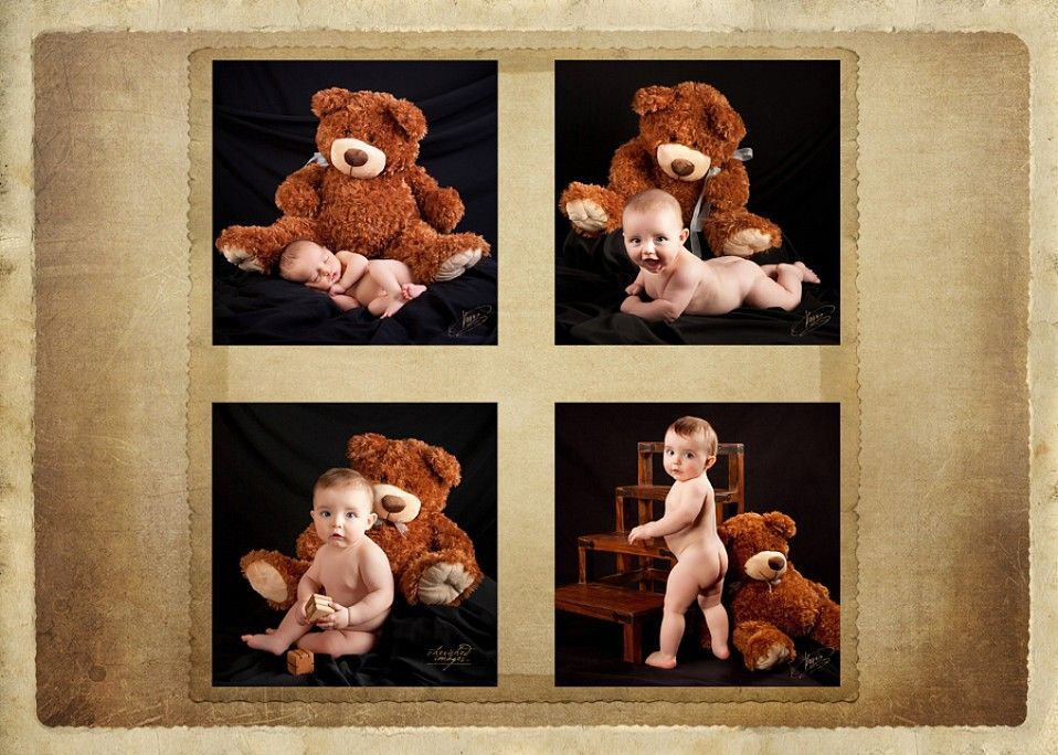 baby first year with red teddy bear