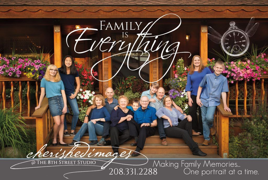 Family Portrait with beautiful flowers in McCall, Idaho by Boise Photographer, Cherished Images
