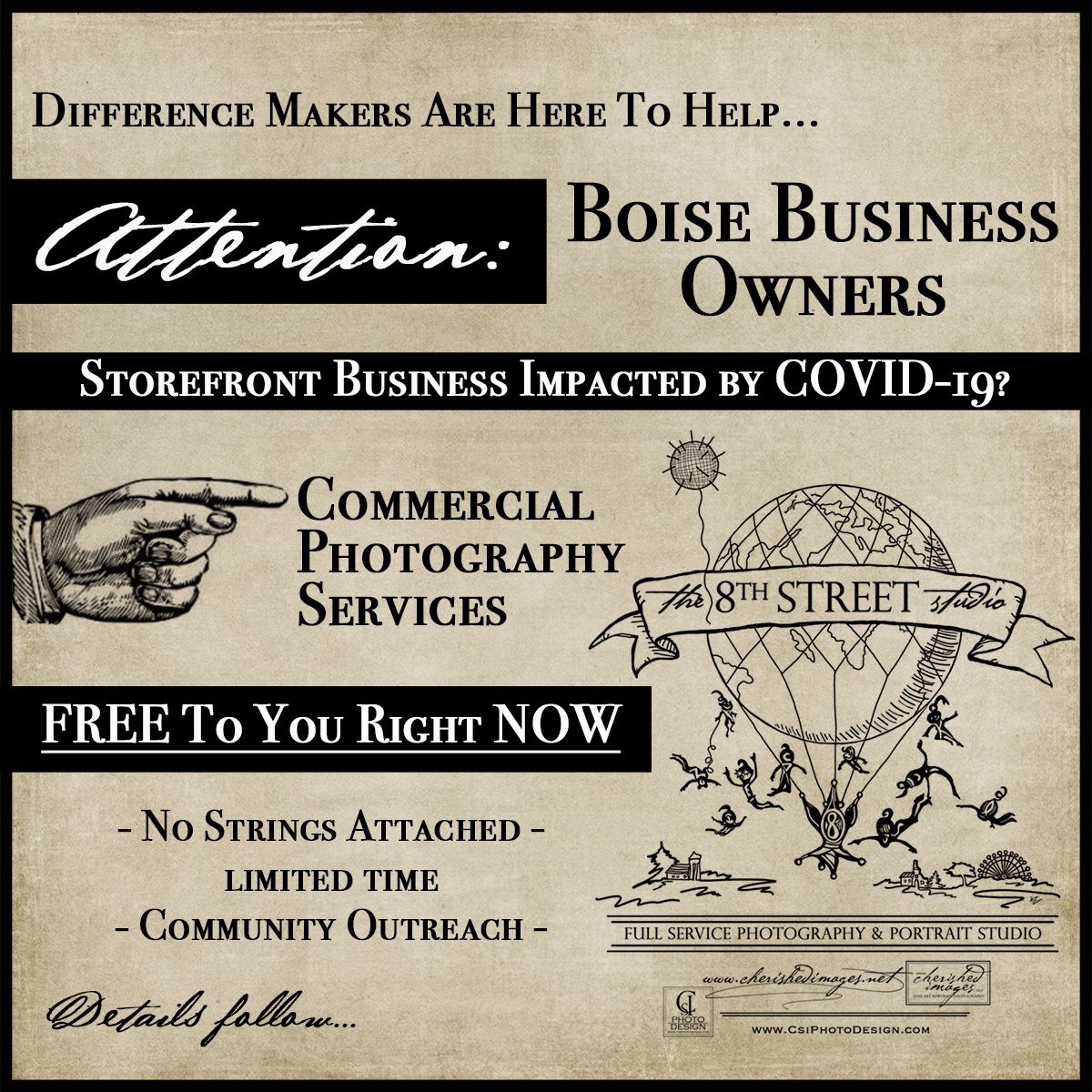 The 8th Street Studio helps other Boise businesses impacted by COVID-19 with Free commercial photography