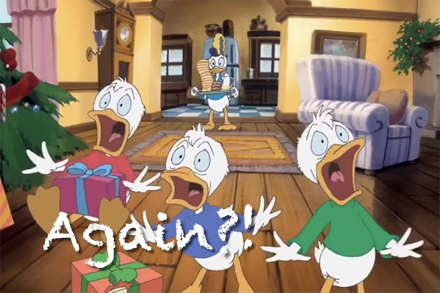 Even Disney knows that there is such thing as too much fun with Donald Ducks nephews experiencing Christmas over and over again