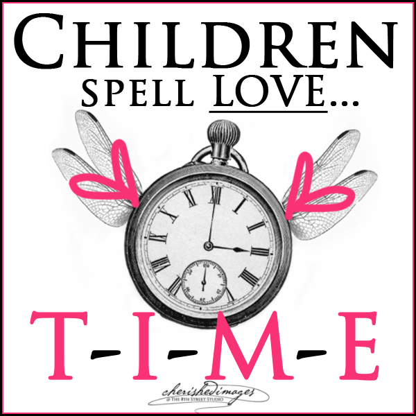 Children spell love TIME clock graphic